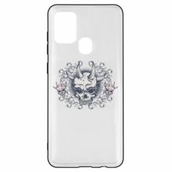 Чохол для Samsung A21s Skull with horns and patterns