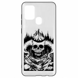 Чохол для Samsung A21s Skull with horns in the forest