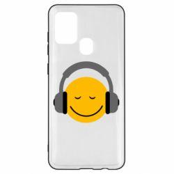 Чехол для Samsung A21s Smile in the headphones