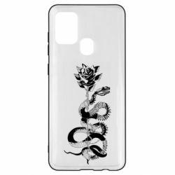 Чохол для Samsung A21s Snake and rose