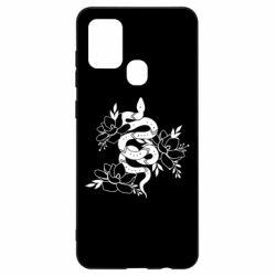 Чохол для Samsung A21s Snake with flowers