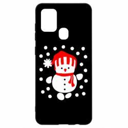Чехол для Samsung A21s Снеговик в шапке