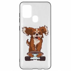 Чехол для Samsung A21s Собака Кавалер на Скейте