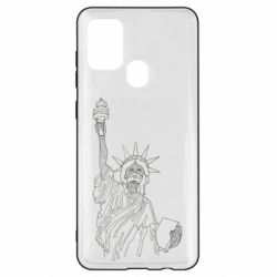 Чохол для Samsung A21s Statue of Liberty with a medical mask