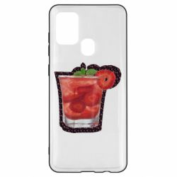 Чохол для Samsung A21s Strawberry cocktail on a background of flowers