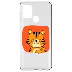 Чехол для Samsung A21s Striped tiger with smile