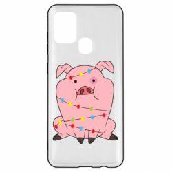 Чохол для Samsung A21s Свиня обмотана гірляндою