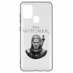 Чехол для Samsung A21s The witcher art black and gray