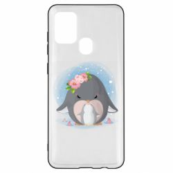 Чехол для Samsung A21s Two cute penguins