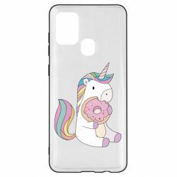 Чехол для Samsung A21s Unicorn and cake