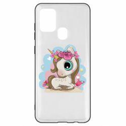 Чохол для Samsung A21s Unicorn with flowers