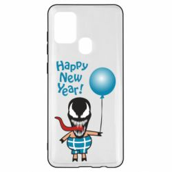 Чохол для Samsung A21s Venom pig with a ball wishes a happy new year