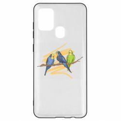 Чехол для Samsung A21s Волнистые попугайчики
