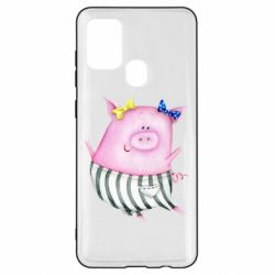 Чехол для Samsung A21s Watercolor Pig with paper texture