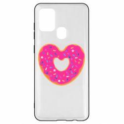 Чехол для Samsung A21s Я люблю пончик