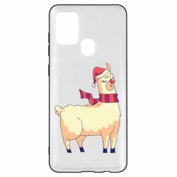 Чехол для Samsung A21s Yellow llama in a scarf and red nose