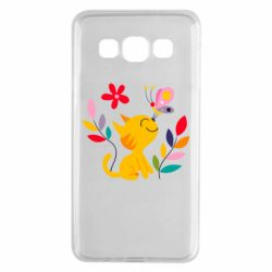 Чехол для Samsung A3 2015 Cat, Flowers and Butterfly