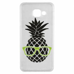 Чехол для Samsung A3 2016 Pineapple with glasses