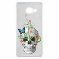 Чехол для Samsung A3 2016 Skull and green flower