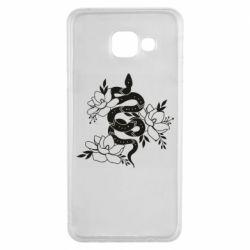 Чохол для Samsung A3 2016 Snake with flowers