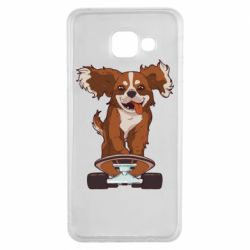 Чехол для Samsung A3 2016 Собака Кавалер на Скейте