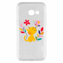 Чехол для Samsung A3 2017 Cat, Flowers and Butterfly