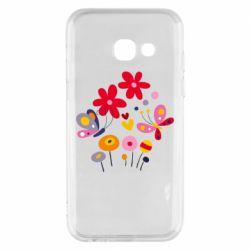 Чехол для Samsung A3 2017 Flowers and Butterflies