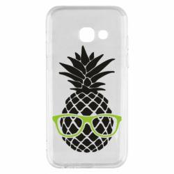 Чехол для Samsung A3 2017 Pineapple with glasses