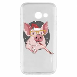 Чохол для Samsung A3 2017 Portrait of the pink Pig in a red Santa's cap