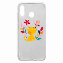 Чехол для Samsung A30 Cat, Flowers and Butterfly