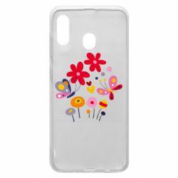 Чехол для Samsung A30 Flowers and Butterflies