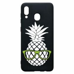 Чехол для Samsung A30 Pineapple with glasses