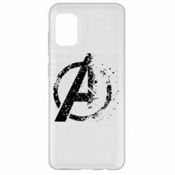 Чехол для Samsung A31 Avengers logotype destruction