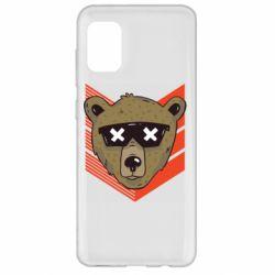 Чехол для Samsung A31 Bear with glasses