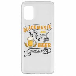 Чехол для Samsung A31 Black music and bear you can call me sir