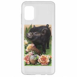 Чехол для Samsung A31 Black pig and flowers