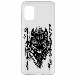 Чехол для Samsung A31 Black wolf with patterns