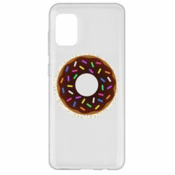 Чохол для Samsung A31 Brown donut on a background of patterns
