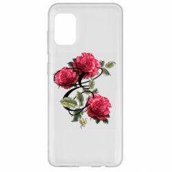 Чехол для Samsung A31 Буква Е с розами