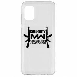 Чехол для Samsung A31 Call of debt MW logo and Kalashnikov
