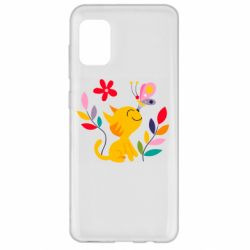 Чехол для Samsung A31 Cat, Flowers and Butterfly