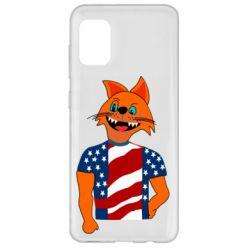Чехол для Samsung A31 Cat in American Flag T-shirt