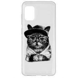 Чохол для Samsung A31 Cat in glasses and a cap