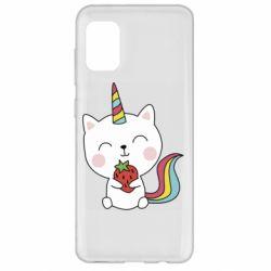 Чохол для Samsung A31 Cat unicorn and strawberries