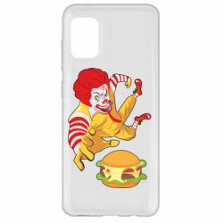 Чехол для Samsung A31 Clown in flight with a burger
