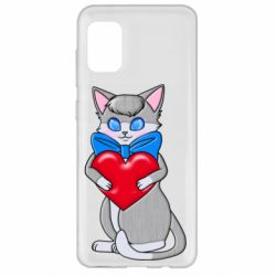 Чехол для Samsung A31 Cute kitten with a heart in its paws