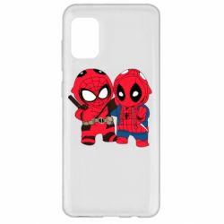 Чехол для Samsung A31 Дэдпул и Человек паук