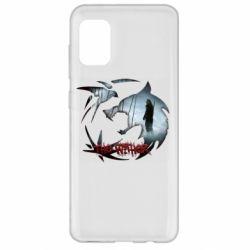 Чехол для Samsung A31 Emblem wolf and text The Witcher