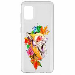 Чехол для Samsung A31 Fox in autumn leaves