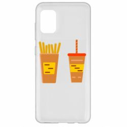Чехол для Samsung A31 French fries and cocktail flat vector